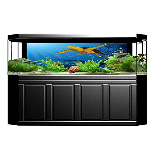 "UHOO2018 Background Fish Tank Sticker Colored Coral Reef with Silhouette School of Fish and Turtle Underwater Nature Art Aquarium Sticker Wallpaper Decoration 23.6""x15.7"""