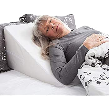 DMI Wedge Pillow to Support and Elevate Neck, Head and Back for Acid Reflux or Feet and Legs to Reduce Back Pain and Improve Circulation with Removable Cover, White ,12x24x24 Inch