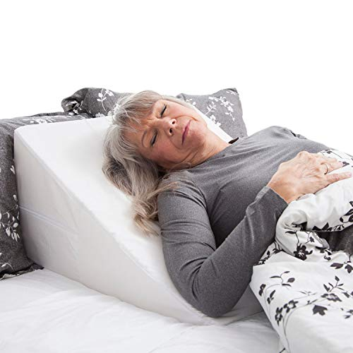 Supine Stander - DMI Wedge Pillow for Support Sleeping, Reading, Rest or Elevation to Help Acid Reflux, Sleep Apnea, Back Pain, Minimize Snoring and for Foot and Leg Elevation with Removable Cover, 12x24x24, White