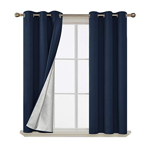 Deconovo Energy Saving Grommet Blackout Curtains with Silver Coated Backing Thermal Insulated Drapery Drapes for Living Room 42 by 54 Inch Navy Blue 2 Panels