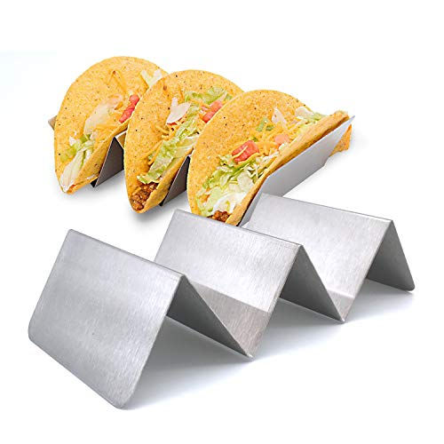 Stainless Steel Taco Holder: 2 Pack – Oven Safe Taco Serving Tray for Baking or Grilling – Dishwasher Safe Metal Taco Stand Rack – Holds 3 Tacos