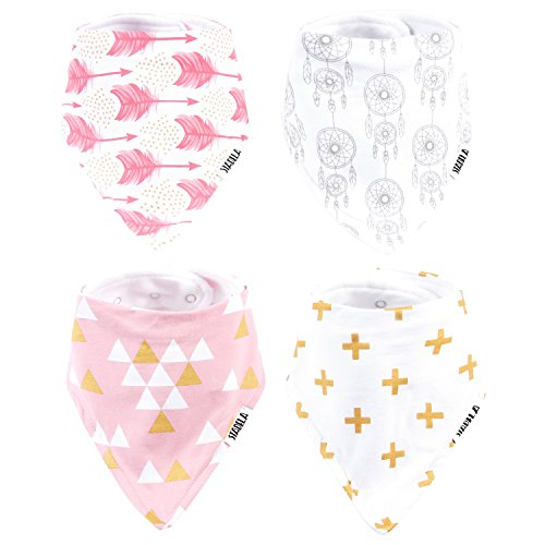 Stadela Baby Bandana Bib Set, 4-Pack Absorbent Soft Cotton Drool and Teething Bandana Bibs, Baby Shower Gift for Girls