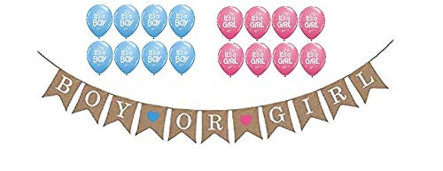 - Boy or Girl Hanging Burlap Banner - Gender Reveal Baby Shower Party - Pink It's a Girl Balloons - Blue It's a Boy Balloons - Pregnancy Birth Announcement Decorations Supplies by Jolly Jon ®