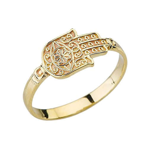 Elegant 10k Yellow Gold Evil Eye Sun of Hamsa Hand Ring (Size 7)