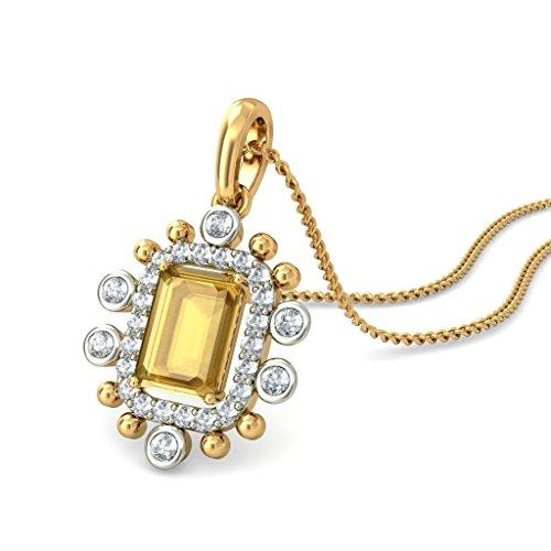 Or jaune 18K 0.25CT TW Round-cut-diamond (IJ | SI) et citrine Pendentif