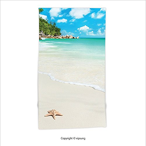 Vipsung Microfiber Ultra Soft Hand Towel-Ocean Decor Collection Big Starfish At Sandy Tropic Beach With Crystal Clear Sea Exotic Island Dream Spaces Cream Turquoise For Hotel Spa Beach Pool (Walmart Pool Clearance)