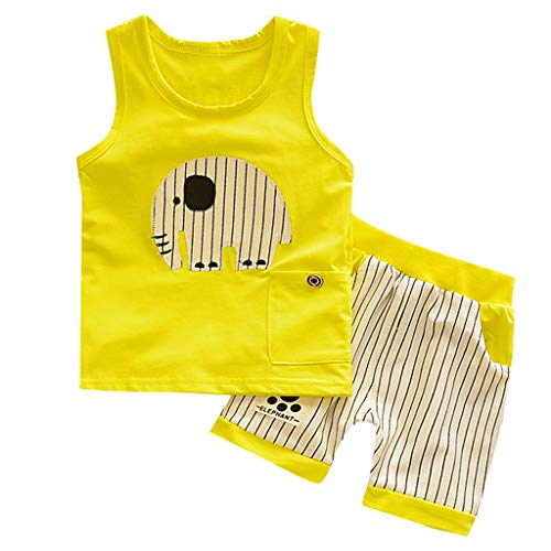 NUWFOR Kids Summer O-Neck Cartoon Style Vest Stripe Shorts Sport Suit Shorts Clothing Set T-Shirt Shorts(Yellow,18-24 Months)