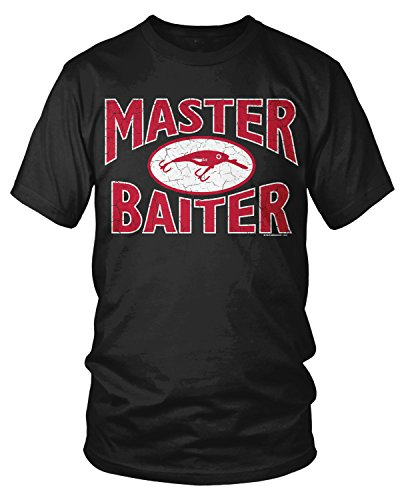 Amdesco Men's Master Baiter, Awesome Funny Fishing T-Shirt, Black 3XL