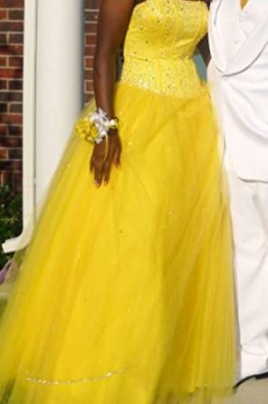 Mori Lee strapless yellow cinderella prom dress 7/8