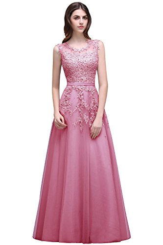 (Women's Beaded Sleeveless Long Prom Dresses Formal Lace Evening Gowns)