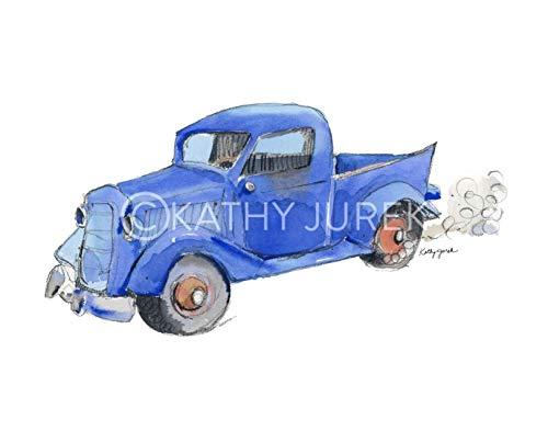 (Nursery Wall Decor   Little Blue 1935 Ford Pickup Truck Wall Art Print for Kids Room   8.5 x 11 Inch Gallery Quality Fine Art Giclée Print)