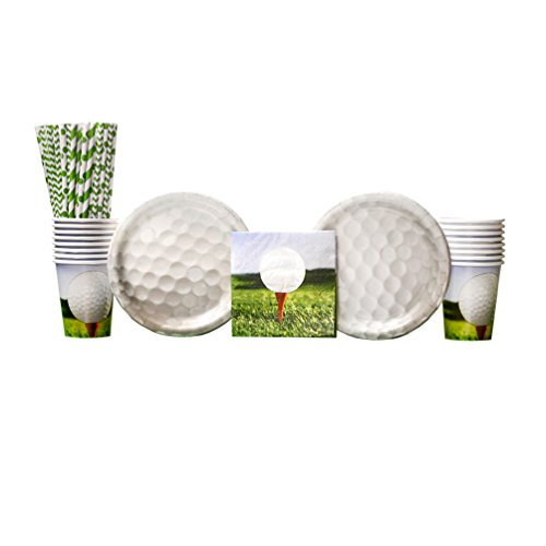 - Sports Fanatic Golf Birthday Party Supplies Pack for 16 Guests: Straws, Dessert Plates, Beverage Napkins, and Cups