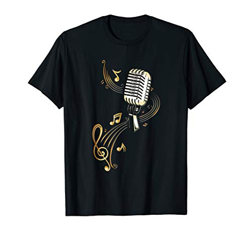 Microphone Shirt with Music Notes and Clef. Musician. ()