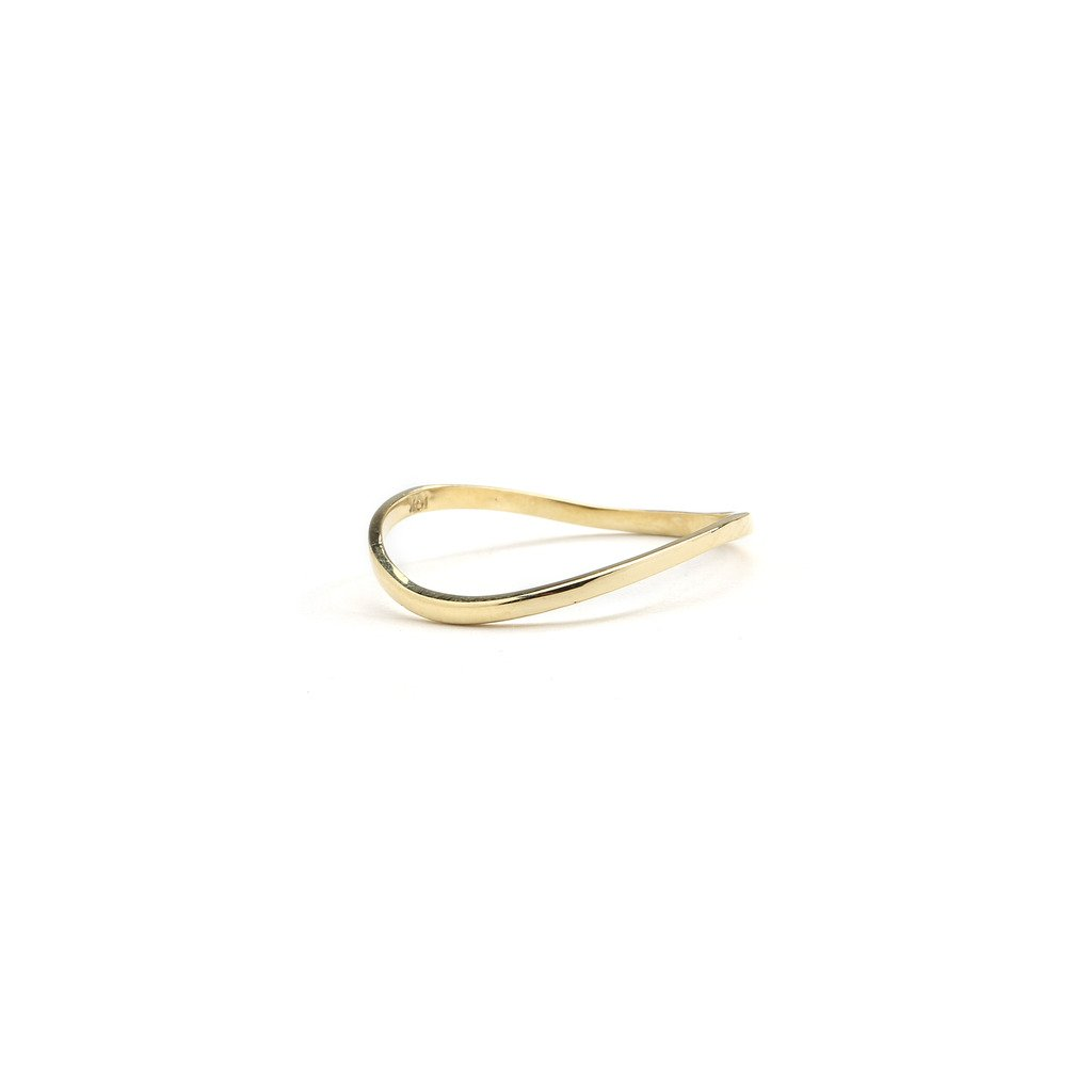 1.5mm 10k Fine Gold Thin Comfort Fit Curved Wave Thumb Ring