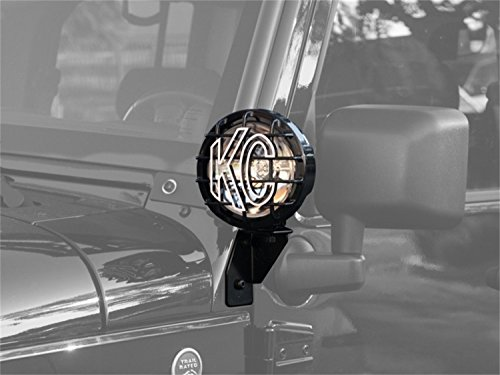 KC HiLiTES 7317 Black Windshield Light Side Mount Bracket for Jeep JK - (Side Mount Bracket)