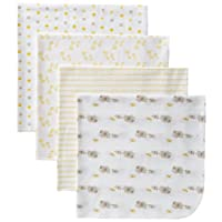 Gerber Baby Unisex 4 Pack Flannel Receiving Blanket, Elephant, 30x30