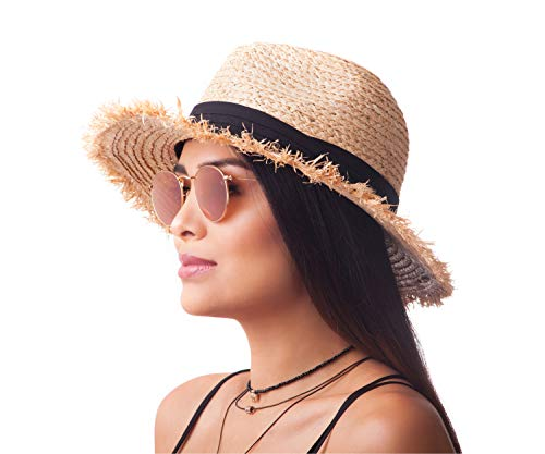 CATA, Hats Raffia Straw Panama Hat for Women, Classic Retro Style, Great for Travel, Adjustable Size, and Stylish Sun Protection - Straw Retro Hat