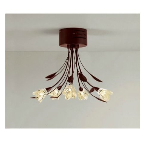 soffitto inspire mya chocolate colour 5 light semi flush ceiling