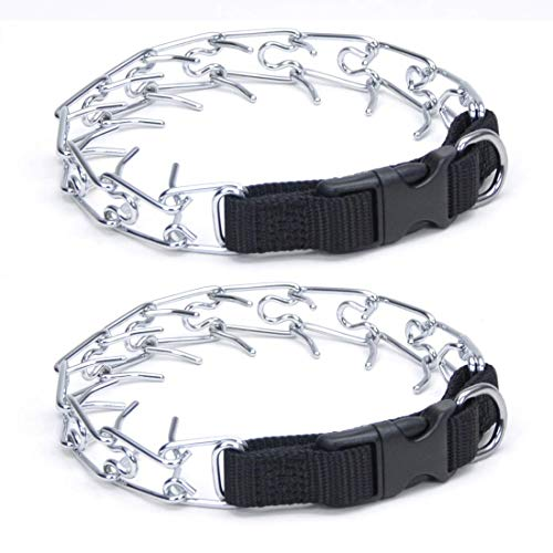 Coastal Pet Easy-On Chrome-Plated Dog Prong Training Collar with Buckle | Heavy, 20-Inches Girth (2-Pack)