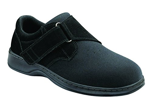 Orthofeet Bismarck Stretchable Orthopedic Wide Diabetic Shoes for Men Black Synthetic/Spandex 8 W US by Orthofeet