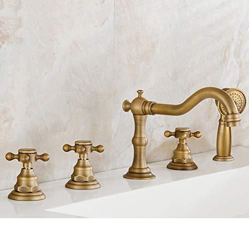 Faucets Antique Brass Deck 5 Holes Bathtub Mixer Faucet Handheld Shower Widespread Bathroom Faucet Set Water Tap (Color : Antique)