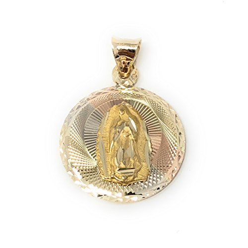 14K Tri Color Gold Diamond Cut Double Side Stamp Virgin Mary & Jesus Religious Charm Pendant with 0.8mm Box Chain Necklace - 18'' by Ioka (Image #4)