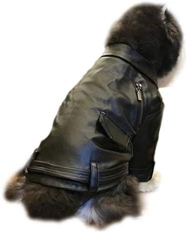 Traje del perro, de la motocicleta de la vendimia Chaqueta de cuero con cremallera, estilo punky invierno del animal doméstico de los puentes for Gatos Perros Pequeños Pequeños Animales de Navidad reg