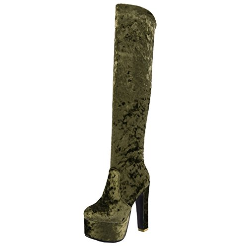 CUTEHEELS Velvet Ankle Boots with High Heel and Thick Platform Sexy Boots with Large for Parties Green-l