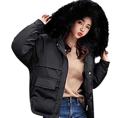 (YOMXL Cute Short Puffer Parka Winter Coat Down Jacket - Elegant Ladies Long Sleeve Fur Trim Hoodie Warm Jacket with Big Pockets)