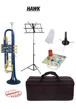 Hawk Blue Bb Trumpet School Package with Case Music Stand Trumpet Stand and Cleaning Kit WD-T314-BL-PACK by Hawk