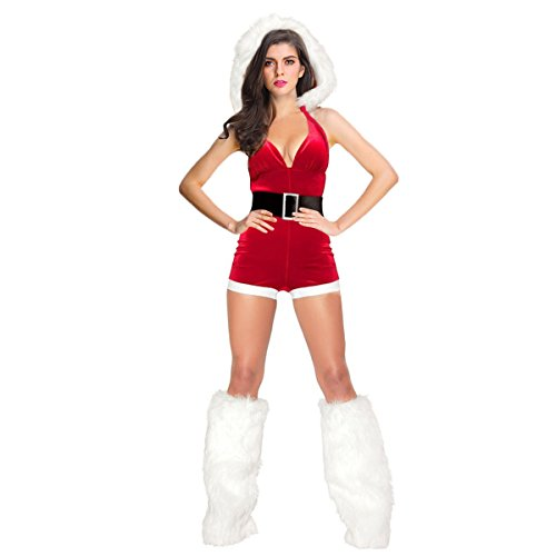 Adult Miss Red Costumes (Quesera Women's Miss Santa Costume Sexy Fancy Christmas Romper With Leg Warmers,Red,One Size Fits US Size 2-8)
