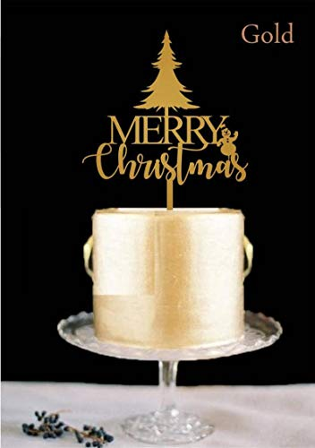 Merry Christmas Cake Topper, Snowman cake topper with Christmas tree