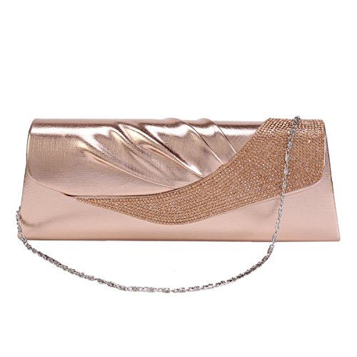 Pleated Womens Damara Purse PU Clutch Evening Crystals Flap Silver Joint xrIdSfr
