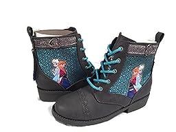 Disney Frozen Elsa Anna Grey Toddler Lace up Boots Size 10