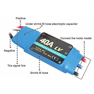 40A RC Brushless Motor Electric Speed Controller ESC 3A BEC with XT60 & 3.5mm bullet plugs