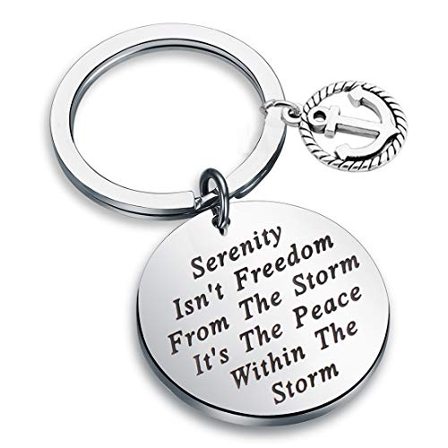 FEELMEM Serenity Prayer Gift Recovery Keychain Serenity Isn't Freedom from The Storm New Beginnings Jewelry for Men Women (Keychain-Anchor)