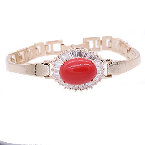 JINY Jewelry New Design Bracelet Red Coral & Turquoise CZ for Women Wedding Bangle (Red Coral)