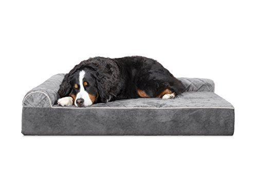 Furhaven Pet Dog Bed | Deluxe Orthopedic Goliath Quilted L-Chaise Couch Pet Bed for Dogs & Cats, Gray, 3XL