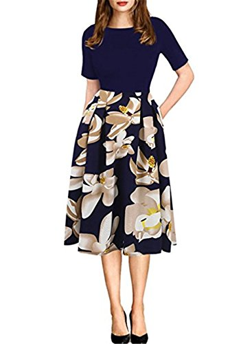 HARHAY Women's Vintage Patchwork Pockets Casual Swing Dress Navy L