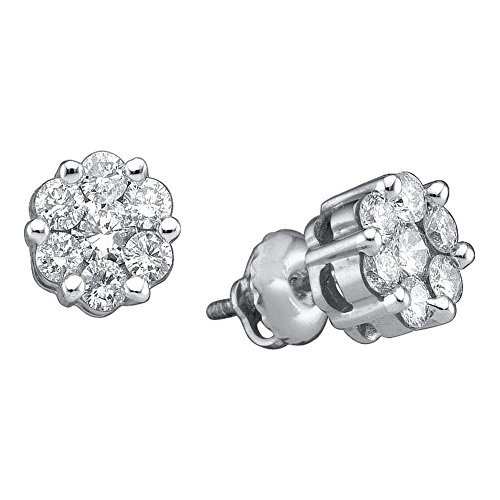 14k White Gold Womens Round Diamond Flower Cluster Screwback Stud Earrings 1.00 Cttw