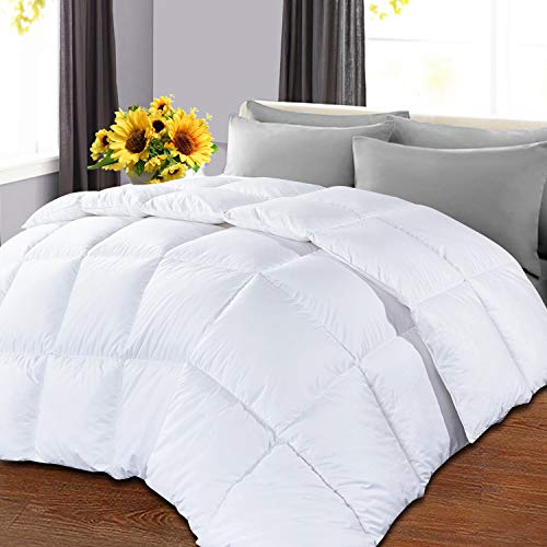OHAPPES Queen Comforter Soft Goose Down Alternative Duvet Insert for Winter , 8 Corner Loops, Warm Fluffy All Season Hotel Collection, 88 X 88 Inches, White