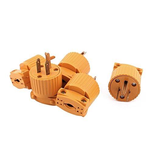 eDealMax Adattatore 5Pcs Giallo custodia in plastica AC 125V 15A 3 pin Spina USA Ricablaggio Presa di alimentazione