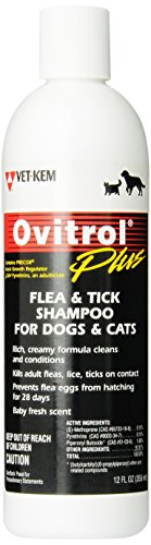 Vet-Kem Ovitrol Plus Flea and Tick Shampoo for Pets, 12-Ounce