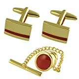 Gift Set Matching Cufflinks Red Jasper Stone Oval Tie Tac Gold-Tone-Tone