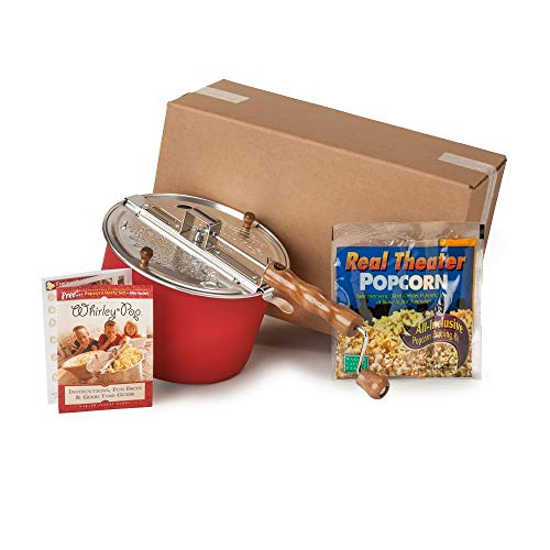 Whirley-Pop Popper Kit - Metal Gears - Red - 1 Real Theater All Inclusive Popping Kit (Popcorn Maker Gift Set)