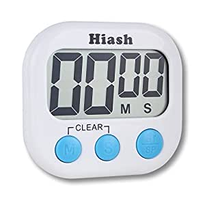 Hiash78 Upgraded Digital Kitchen Timer Big Digital LED Display Volume Adjustable Back Strong Magnetic Automatic Shutdown, White