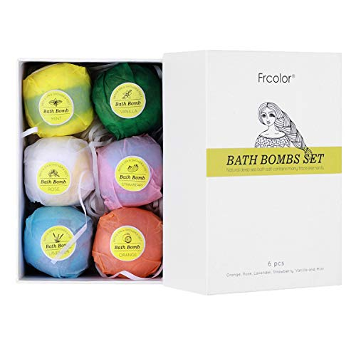 Frcolor Bath Bombs Gift Set, 6 Handmade Natural Spa Bomb Fizzies to Moisturize Dry Skin, Perfect for Bubble Spa Bath, Birthday, Mothers Day, Christmas, Valentine, Gift Idea for Women and Kids