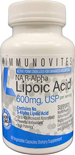 Stabilized R-Alpha Lipoic Acid ((True)) 600mg per Serving [[High Potency & up to 40x Increased Absorption]] (Na R-ALA) (Na R-LA) (Na R-Lipoate)