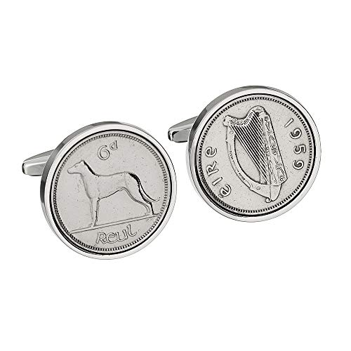 worldcoincufflinks 60th Birthday 1959 - Irish Sixpence 60th Birthday
