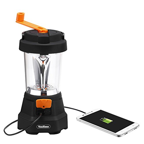 Lantern Dynamo (VonHaus 4-in-1 Camping Lantern & Flashlight - USB Charging Port, LED Flashlight, Lantern & Emergency SOS - Rechargeable & Wind Up Dynamo Lantern)